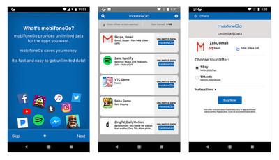 mobifoneGo oferece aos clientes acesso ilimitado e livre de dados de aplicativos populares a um preço fixo, diário ou mensal. (PRNewsfoto/Syntonic)