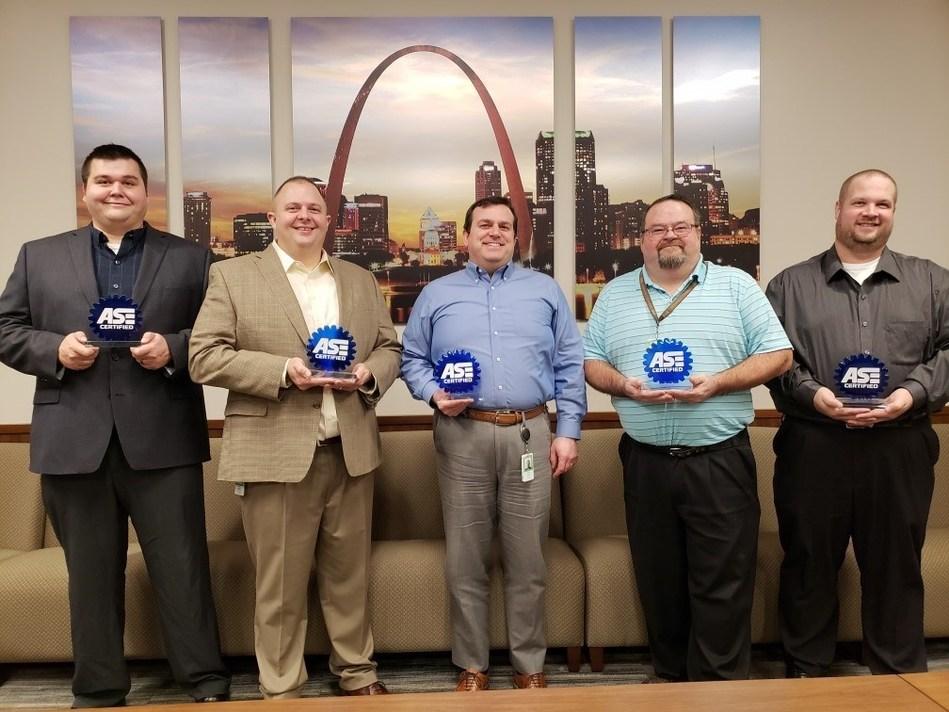 From left to right: Enterprise Fleet Management NSD technicians Travis Guenzler, Jason Hodge, Kelley Hatlee, Amos Eaton and Ryan Egleston.