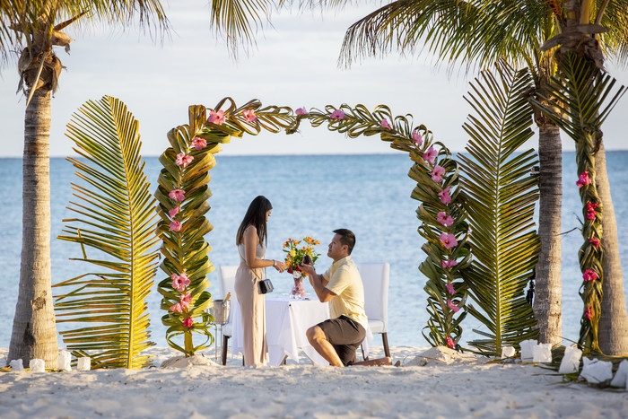 "Jimmy Ly and Uyen Cung's ""Say Yes In The Bahamas"" proposal at Viva Wyndham Fortuna Beach Resort. Freeport, Grand Bahama."