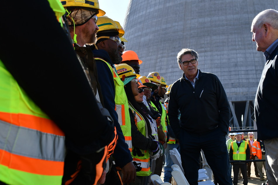 U.S. Secretary of Energy Rick Perry (at left) and U.S. Secretary of Agriculture Sonny Perdue greet craftsmen and craftswomen at Plant Vogtle Units 3 and 4 in Waynesboro, Georgia.