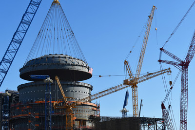 Reactor dome, or top head, being lifted onto Unit 3 at Plant Vogtle in Waynesboro, Georgia.