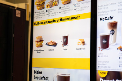 McDonald's drive-thru digital menu board shows restaurant-specific popular items, based on the learnings of the decision logic technology.