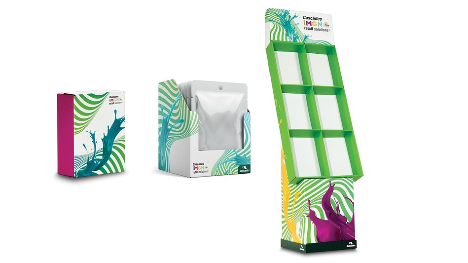 Displays, consumer and shelf-ready product packaging. (CNW Group/Cascades Inc.)