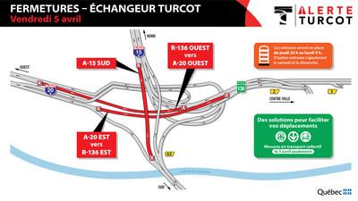 Fermetures échangeur Turcot - vendredi 5 avril (Groupe CNW/Ministère des Transports)
