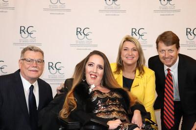 L-R: RCOC Executive Director Larry Landauer, Self-Advocate Spotlight Award honoree Jennifer Bright, KCAL9/KCBS2's Michele Gile, RCOC Board Chair Alan Martin.