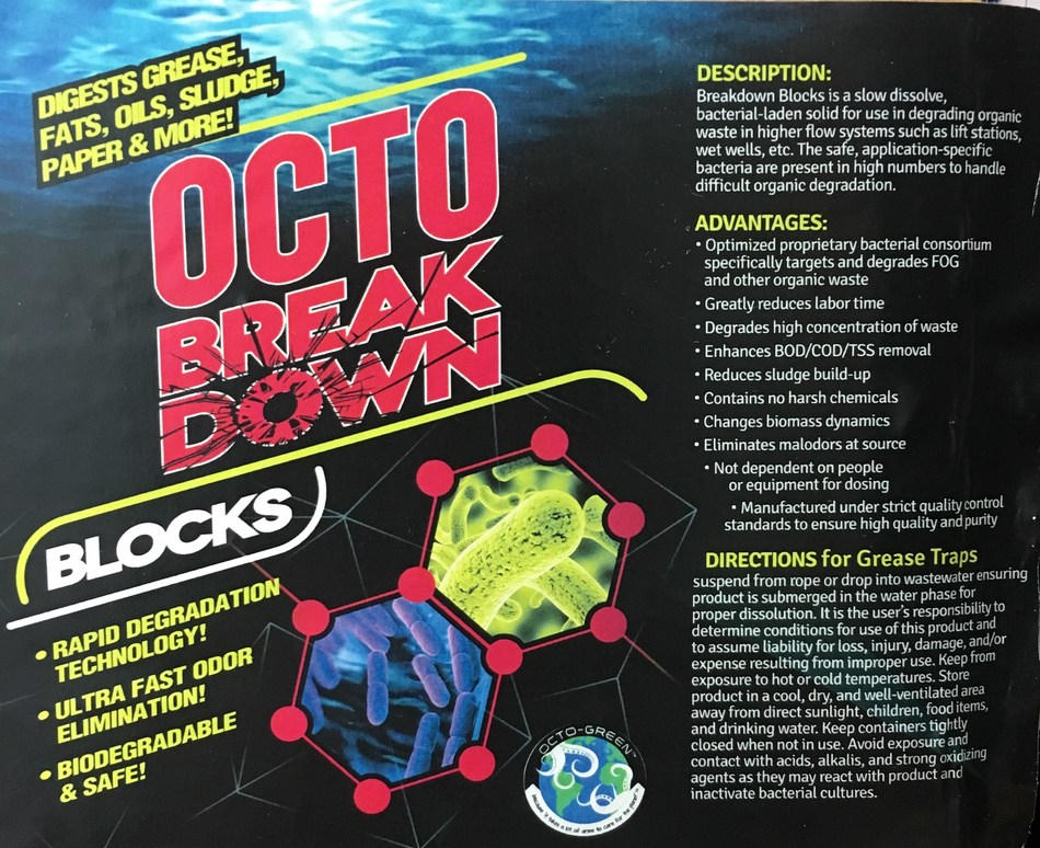 OCTO-BREAKDOWN GREASE TRAP BLOCKS by Octo-Green - for continuous low maintenance care of your grease traps!