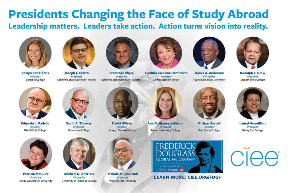 These college presidents are changing the face of study abroad by matching CIEE's $1500 grant to their students who applied for the prestigious Frederick Douglass Global Fellowship.