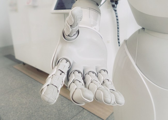 White robotic hand with open palm