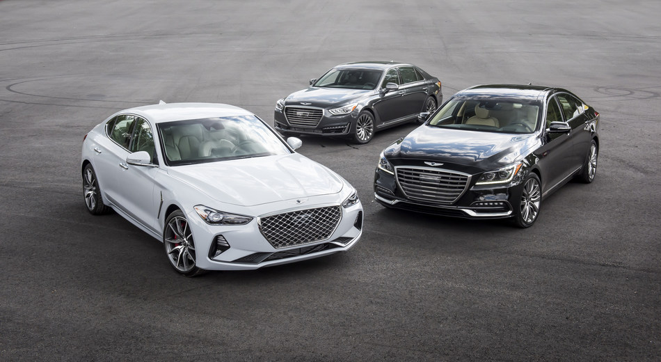 The 2019 Genesis family of multiple award-winning vehicles: G70 - foreground left, G90 - center rear and G80 - right side.