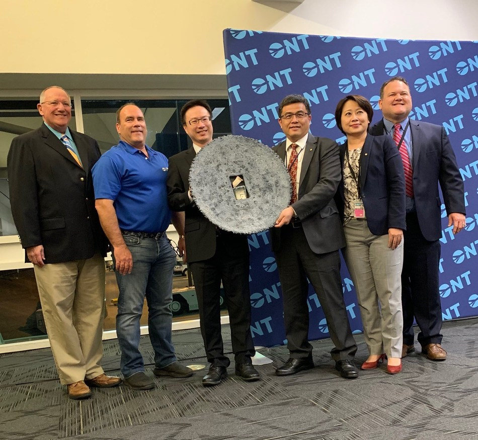 Officials with China Airlines and the Ontario International Airport Authority celebrate the one-year anniversary of the airline's service into and out of ONT.
