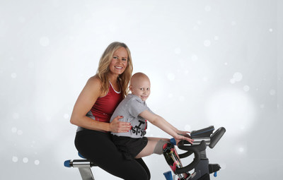 St. Jude patient mom Jamie and her daughter, patient Bridget, participate in a studio shoot for Ride for a Reason.