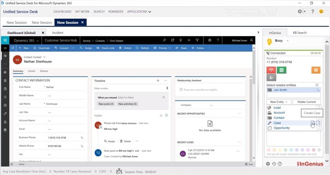 InGenius Connector Enterprise with Unified Service Desk for Microsoft Dynamics 365
