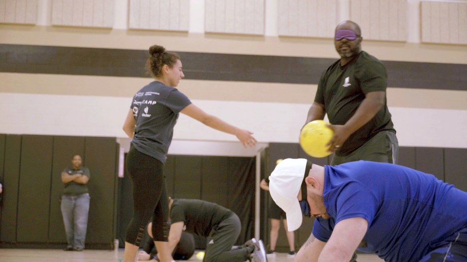 Army veteran Marvin Palmer joined other injured veterans from across the country at a Wounded Warrior Project® (WWP) adaptive sports clinic in Orlando. This clinic connected warriors who have visual impairments to sports equipment and games, which reintroduced the freedom that comes with competitive and recreational sports. Marvin, who gradually lost vision as a result of glaucoma, tried goal ball, among other sports.
