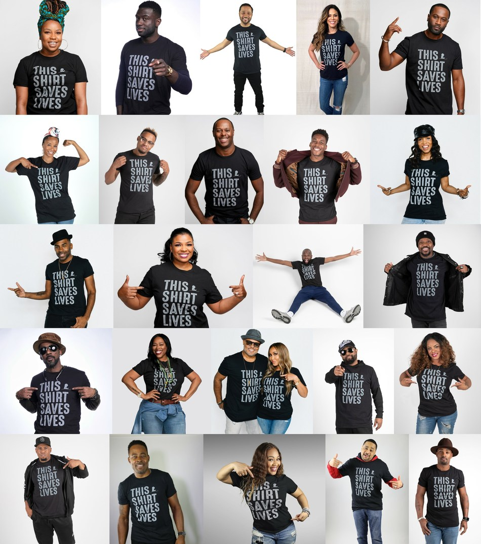 Actors, singers and musicians across gospel and urban radio join the #ThisShirtSavesLives movement in support of St. Jude Children's Research Hospital.