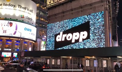 Dropp's logo on one of their Times Square billboards.