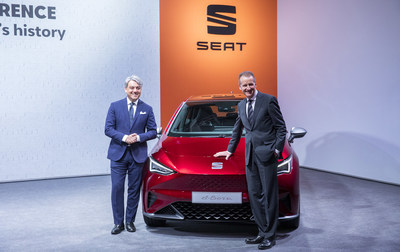 Volkswagen AG CEO Dr. Herbert Diess and SEAT CEO Luca de Meo next to the SEAT el-Born