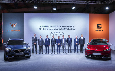 Volkswagen CEO Dr. Herbert Diess, SEAT CEO Luca de Meo and the SEAT Executive Committee next to the SEAT el-Born  and the CUPRA Formentor