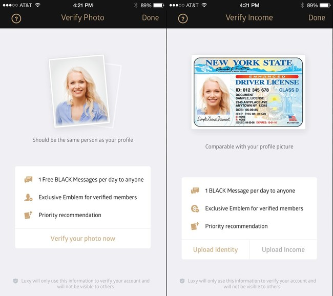 Luxy requires its users to verify their profile picture and income to show trust
