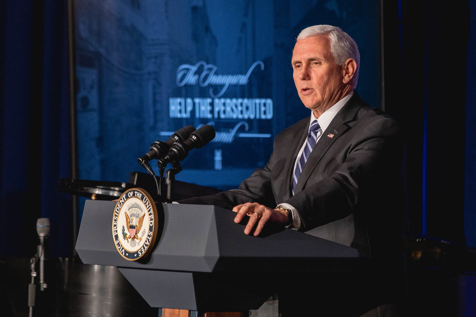 US Vice President Mike Pence addresses the audience at the Inaugural Help The Persecuted Summit.