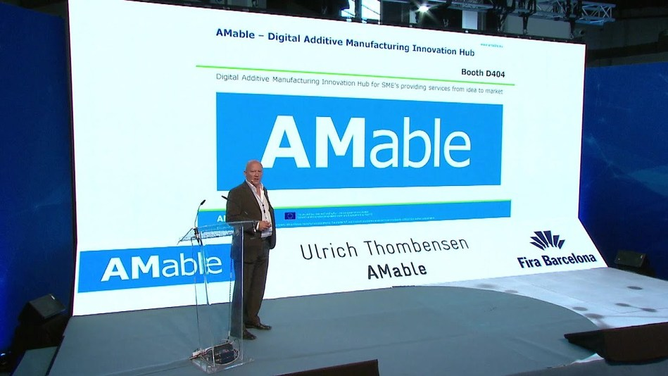 Ulrich Thombansen, from AMable, presenting at the IN(3D)USTRY 2018 in Barcelona