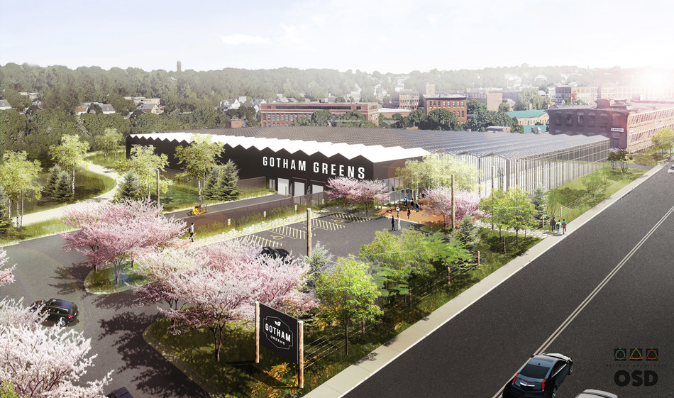 Pictured is a rendering of Gotham Greens' forthcoming 110,000 square foot high-tech greenhouse farm. Located on the banks of Providence's Woonasquatucket River, the project will create approximately 60 permanent and 100 construction jobs.