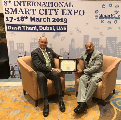 Reviver's Rplate wins a 2019 Smart City Expo award for Best Smart Transportation Solution. Pictured (left to right), Patrick Allainguillaume and Sami Mekki, both of Reviver.