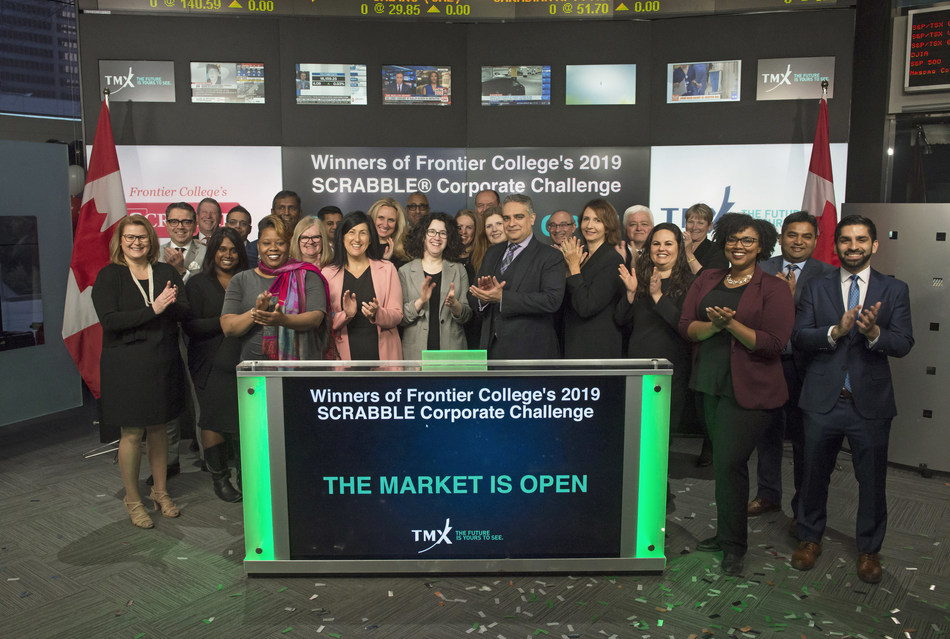 Winners of Frontier College's 2019 SCRABBLE® Corporate Challenge Open the Market (CNW Group/TMX Group Limited)