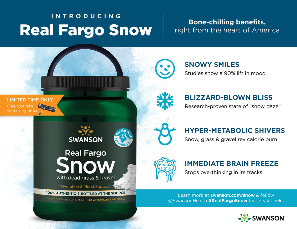Introducing Real Fargo Snow from Swanson Health. Bone-chilling benefits for hydration and mood support, bottled right in the heart of America.