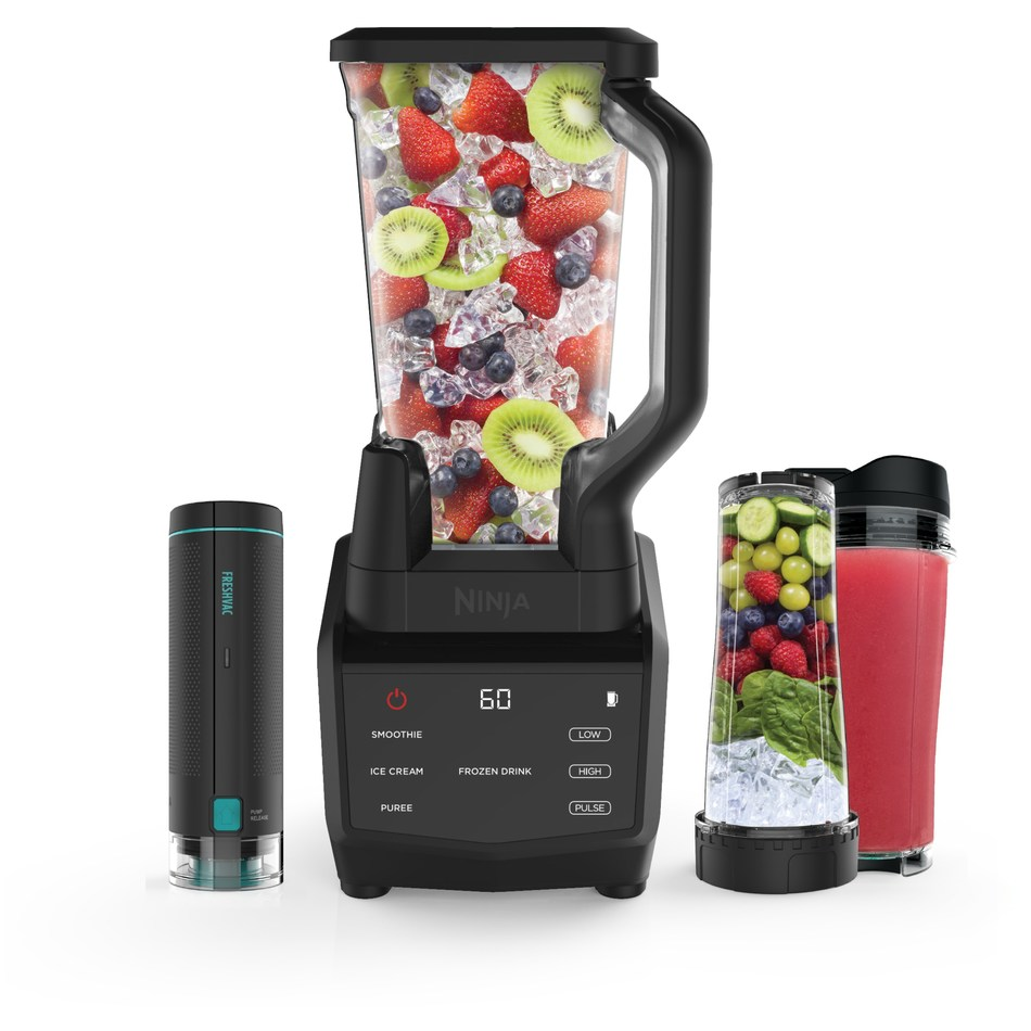 The Ninja Smart Screen Blender DUO with FreshVac Technology is constructed with one smart base and two high-performing vessels that work together to deliver high-powered blending. FreshVac Technology locks in vitamins, reduces separation, brings out rich flavors, and keeps drinks fresh overnight.