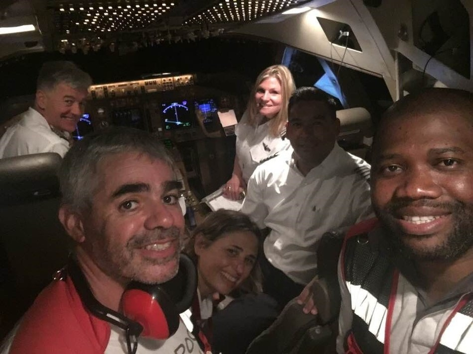 National Airlines Pilots and Canadian Red Cross Relief Workers on Board NAL 747-400F