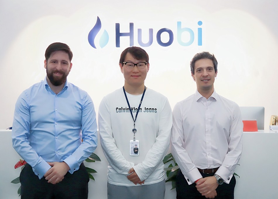 (Left to right) Director-General of the Bilateral External Finance Bureau Javier Matias Mana, CEO of Huobi Leon Li, and Deputy Minister of Finance Felix Martin Soto