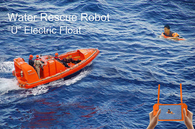 UEF, an U-shaped electric float, can be controlled rescuing those in need of help on the water.