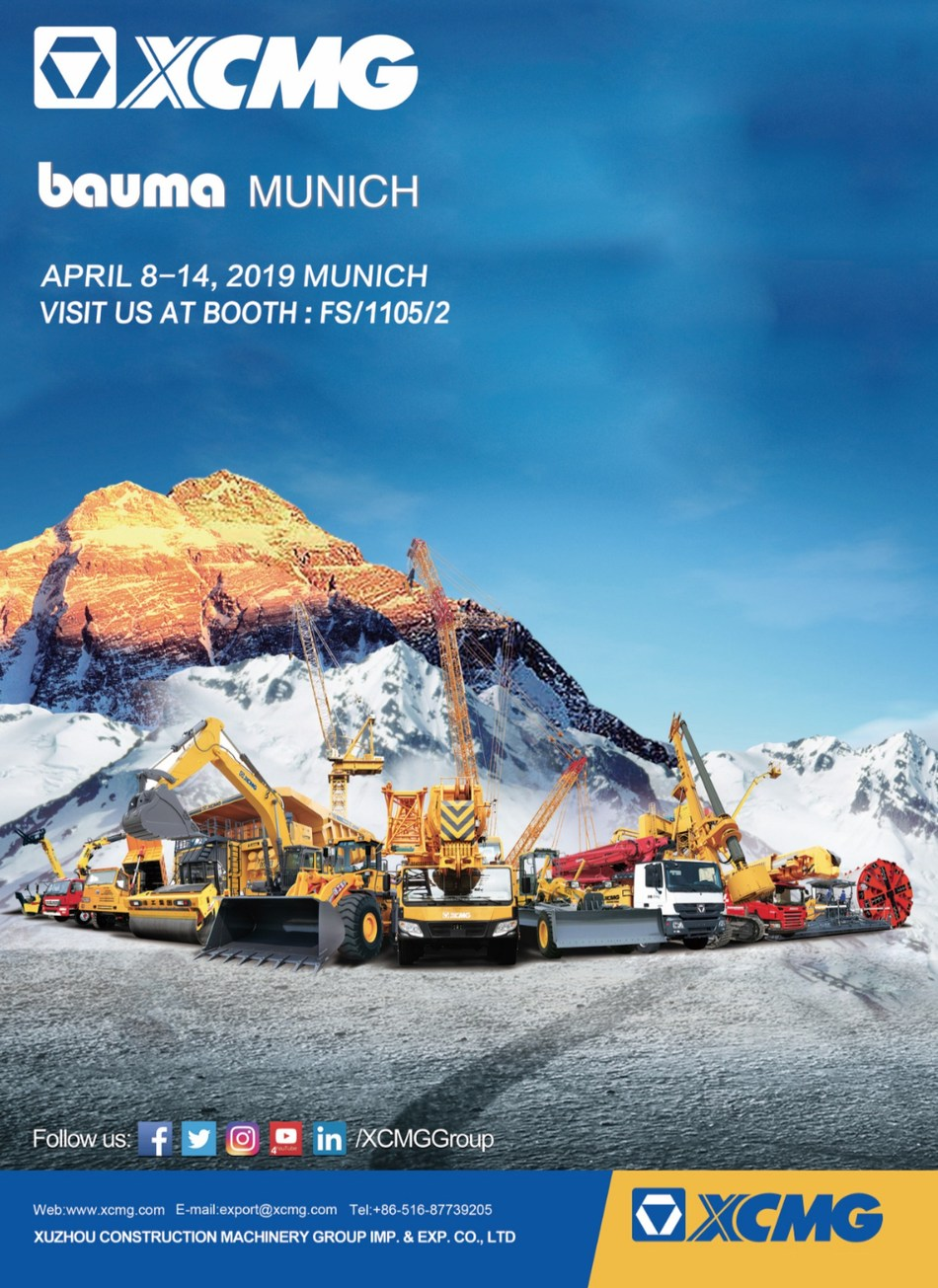 XCMG to Bring Latest Machinery and Construction Solutions to bauma 2019 at booth FS.1105/2 of Messe Munchen.