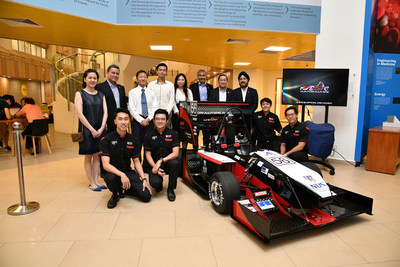 National University of Singapore's Formula Society of Automotive Engineers (FSAE) student racing team with the racing car painted with Axalta's waterborne refinish coatings