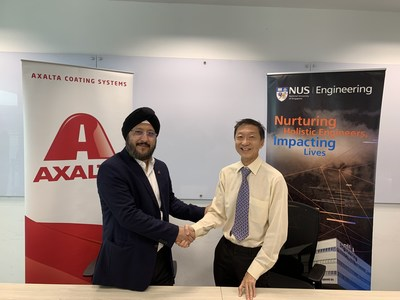 Signing of the partnership agreement. Left - Sobers Sethi, President of Emerging Markets, Axalta Coating Systems; Right - Professor Seah Kar Heng, NUS Formula SAE Advisor