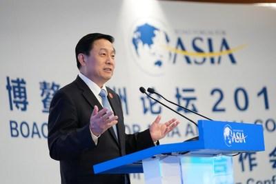 Guo Weimin, viceministro de la Oficina de Información del Consejo Estatal de China, da un discurso destacado en la Conferencia sobre Cooperación de Medios Asiáticos durante el Foro Boao para la Conferencia Anual de Asia 2019 en Boao, provincia de Hainan en el sur de China, 29 de marzo de 2019. [Foto: Li Jin] (PRNewsfoto/China Media Group)