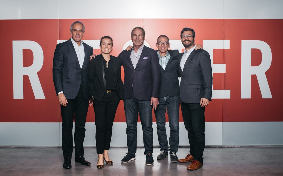 (L-T) Founder and CEO Tim Riester, Chief Strategic Officer Mirja Riester, Senior Partner Dan Santy, Chief Creative Officer Tom Ortega and Chief Digital Officer Alan Perkel announce new acquisition starting April 1, 2019.
