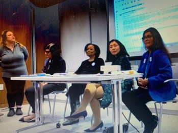 Leading Equal Rights Amendment Advocates Convene Panel at the 63rd United Nations Commission on the Status of Women Conference. Photo Credit: Katrina's Dream, from left to right, Helene de Boissiere - Swanson, Kate Kelly, Carol Jenkins, Professor Julie Suk, Gilda Yazzie.