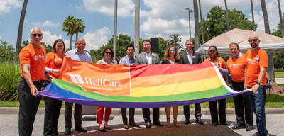 WellCare executives and members of the LGBTQ+ Associate Resource Group gather for the Pride Flag Raising Ceremony in June 2018.