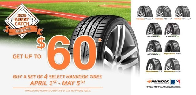 With Hankook Tire's 2019 Great Catch Rebate, consumers can save up to $60 on nine of Hankook's most popular passenger and light truck tire models, including the all-new Dynapro AT2.