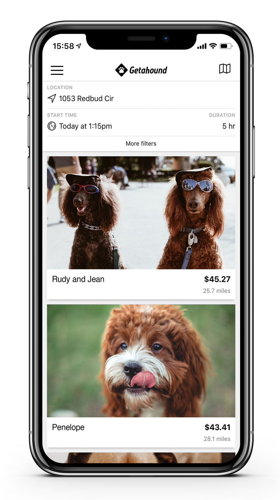 People who live dog-free or who need the perfect dog will be able to instantly rent dogs nearby - by the hour or day - through the Getahound iOS or Android applications.