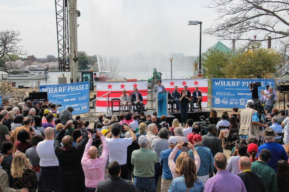 Washington D.C. Mayor Muriel Bowser speaking at The Wharf Phase 2 Construction Kick Off Celebration on the D.C. waterfront with the Hoffman-Madison Waterfront (HMW) development team.