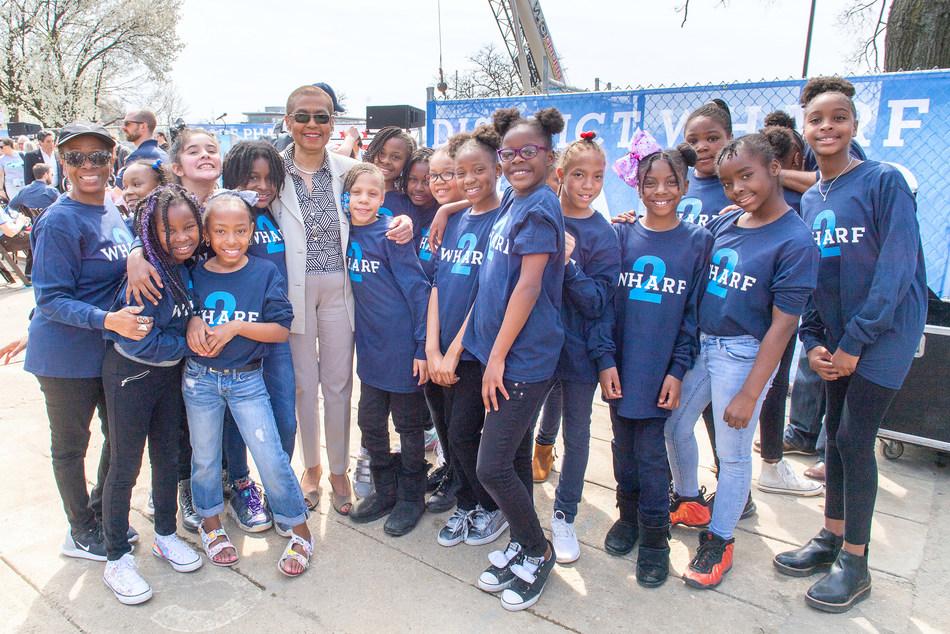 Amidon-Bowen Elementary School Choir with Congresswoman Eleanor Holmes Norton at The Wharf Phase 2 Construction Kick Off Celebration in Washington, D.C.