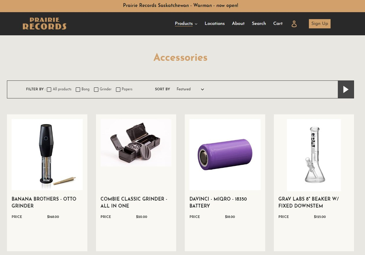 Prairie Records E-Commerce Site - Screen Grab - Accessories (CNW Group/Westleaf Inc.)