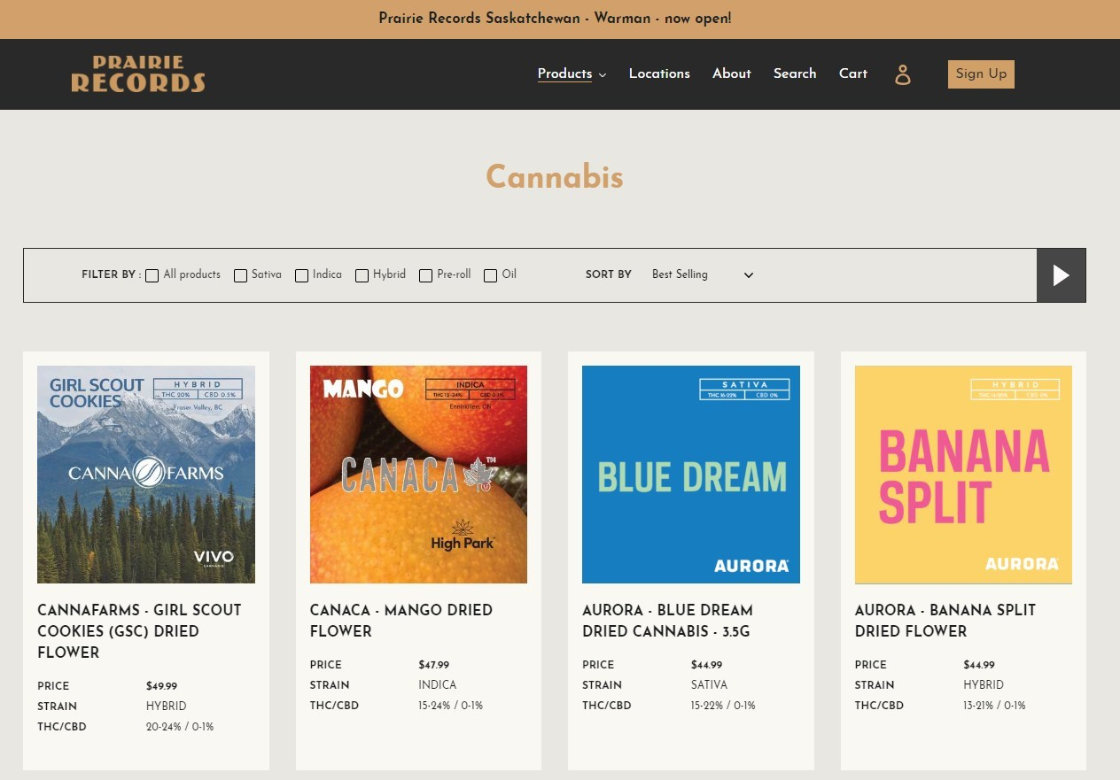 Prairie Records E-Commerce Site - Screen Grab - Cannabis Products on Album Covers (CNW Group/Westleaf Inc.)