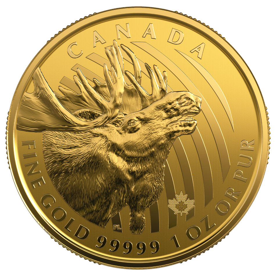 The Royal Canadian Mint's 99.999% Pure Gold  Call of the Wild: Moose Bullion Coin (CNW Group/Royal Canadian Mint)