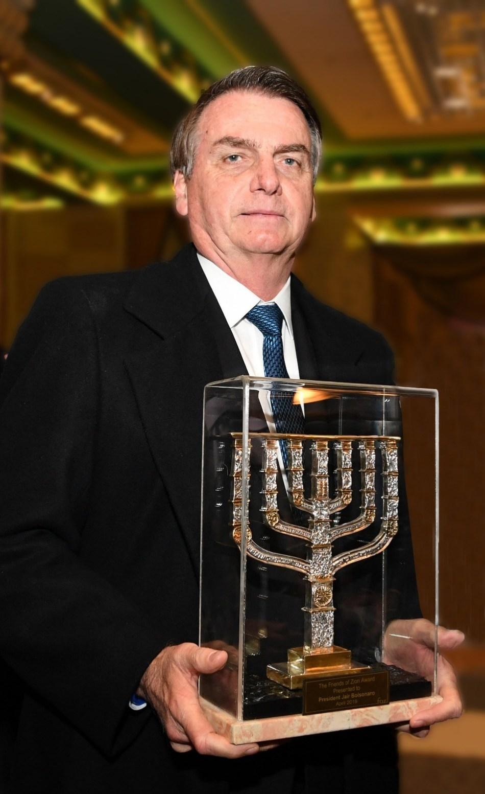 Brazilian President Bolsonaro Receives Friends of Zion Award, Photo Credit: Peter Halmagyi