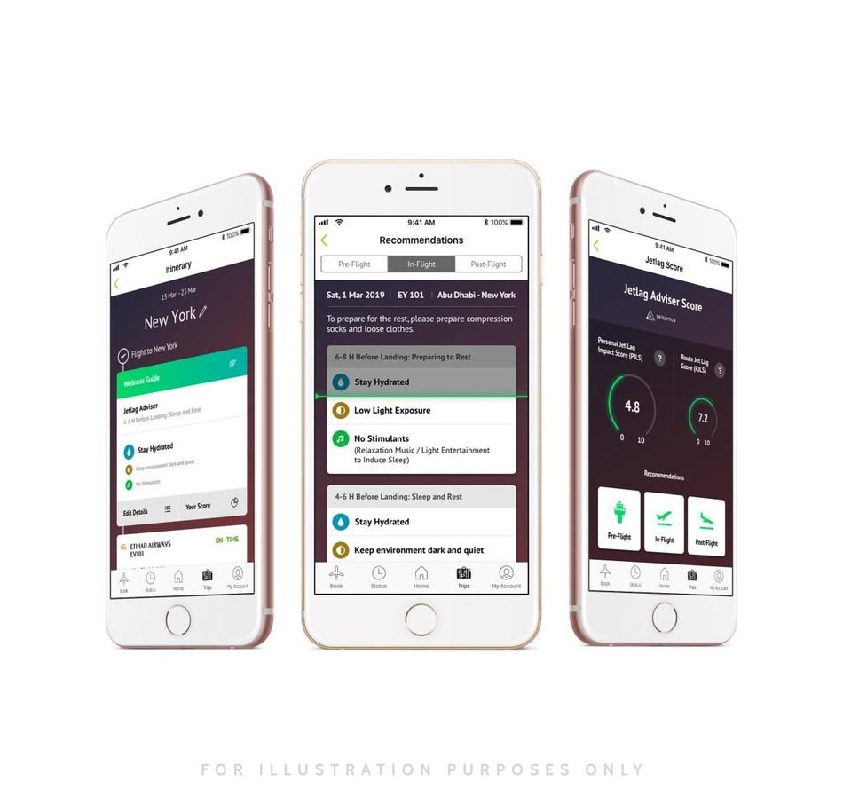 An illustration of the Jet Lag Adviser on Etihad Airways' passenger app.