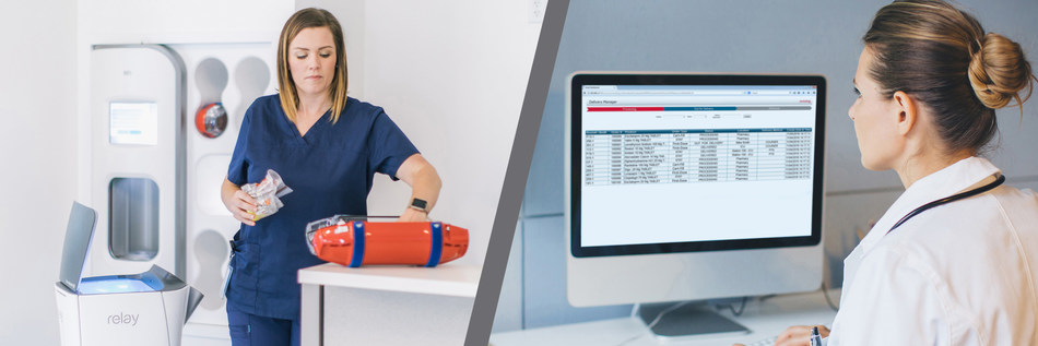 Swisslog Healthcare products Nexus® PTS station, Delivery Manager software, and Savioke Relay® robot will be featured at #AONE2019.