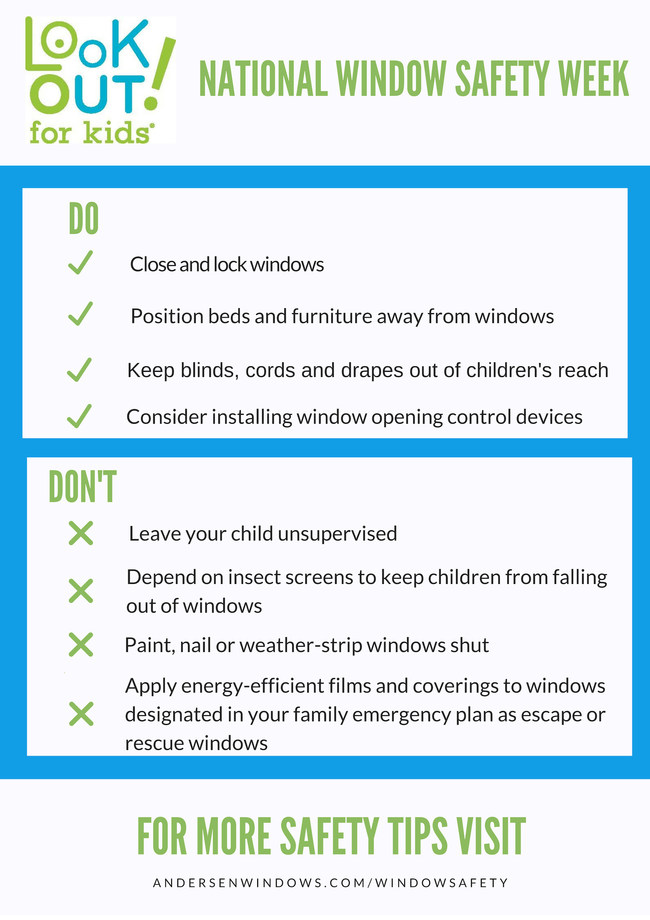 The LookOut For Kids® window safety program offers materials and tips to help educate homeowners and caregivers on how to keep their family and visitors safer from the risks of window falls or injuries in the home, and how they can use their windows for emergency escape and rescue purposes.